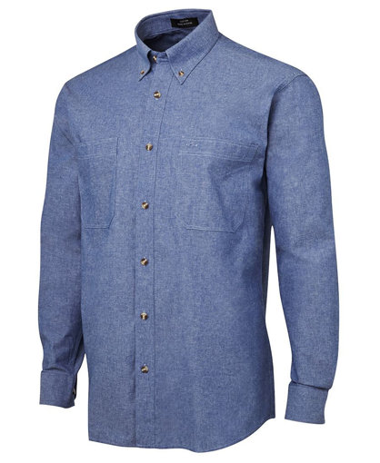 Picture of L/S COTTON CHAMBRAY SHIRT BLUE STITCH