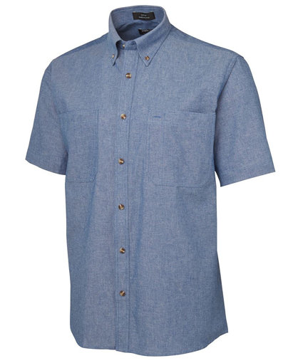 Picture of S/S COTTON CHAMBRAY SHIRT BLUE STITCH