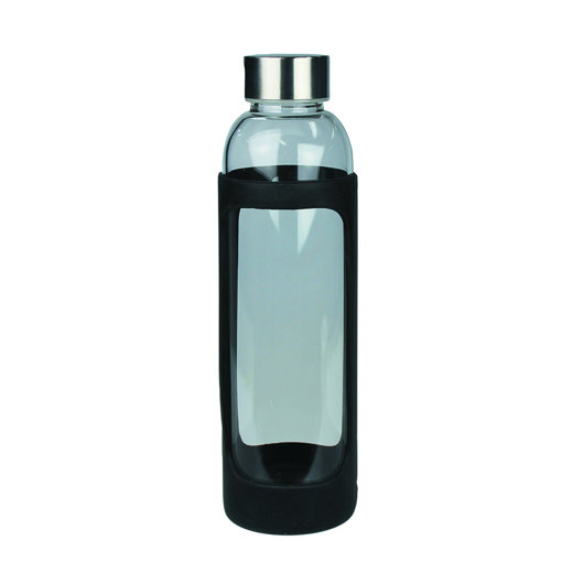 Picture of Sleeve Glass Drink Bottle with Stainless Steel Lid