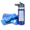 Picture of Sleeve Glass Drink Bottle with Sipper - Blue